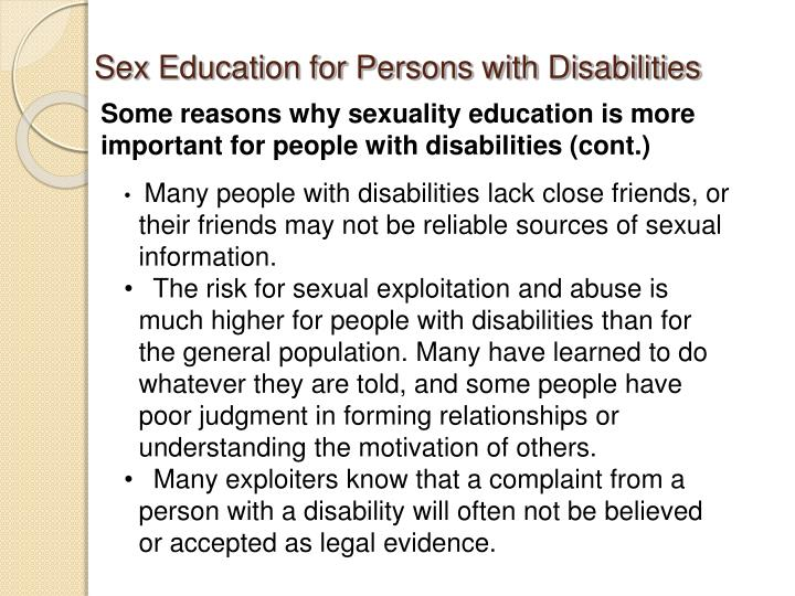Sex Education for Persons with Disabilities