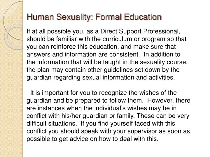Human Sexuality: Formal Education