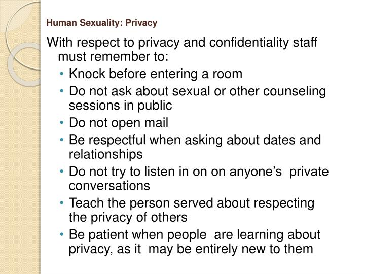 Human Sexuality: Privacy