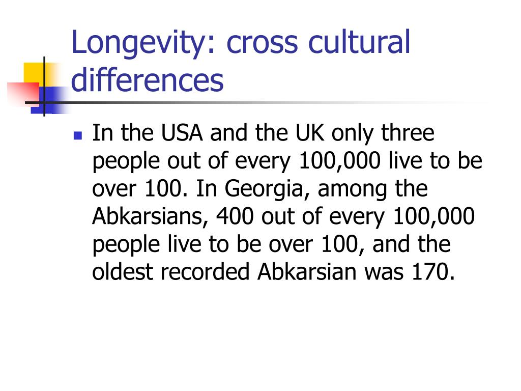 Longevity: cross cultural differences