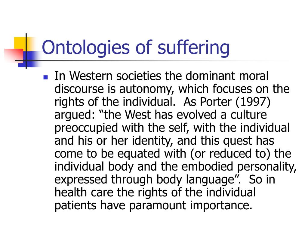 Ontologies of suffering