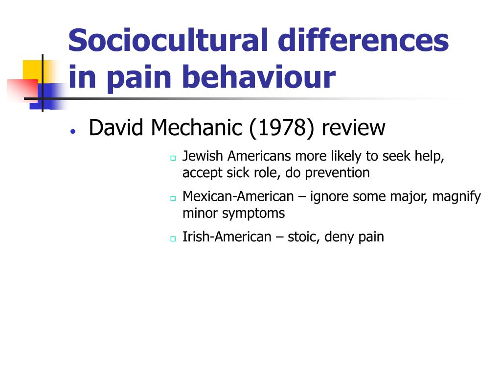 Sociocultural differences in pain behaviour