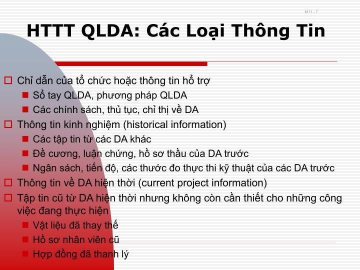 HTTT QLDA: Các Loại Thông Tin