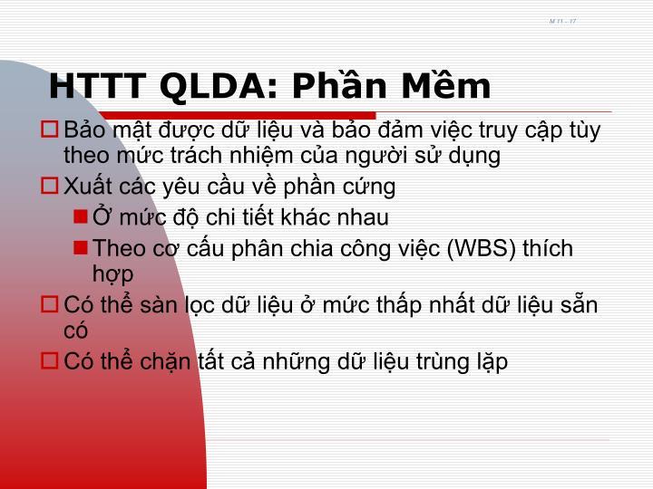 HTTT QLDA: Phần Mềm
