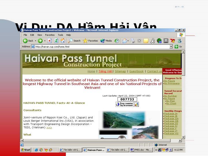 Vi Dụ: DA Hầm Hải Vân