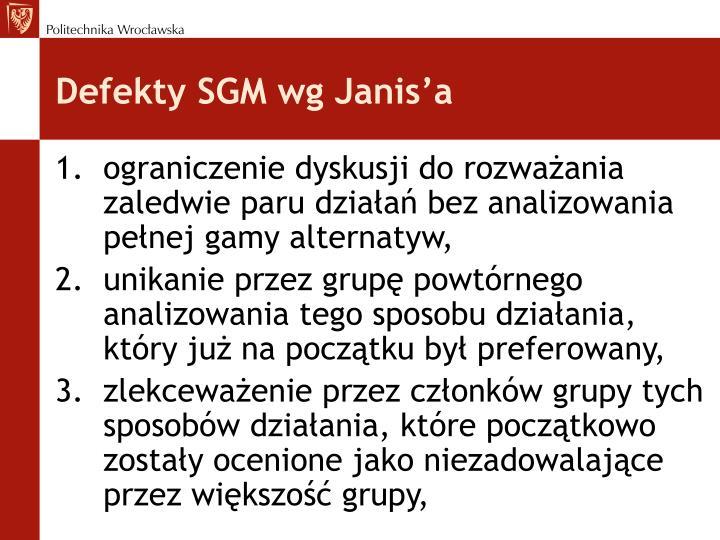 Defekty SGM wg Janis'a