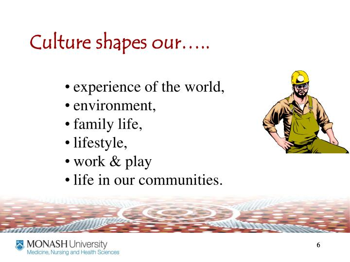 Culture shapes our…..
