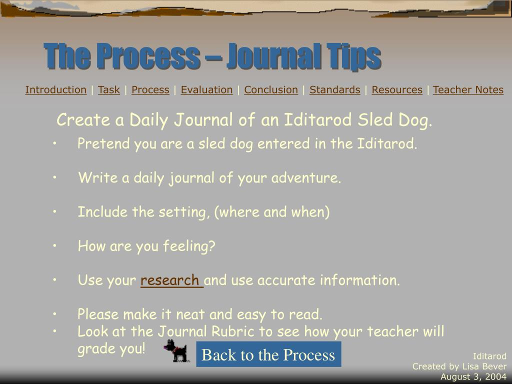 The Process – Journal Tips