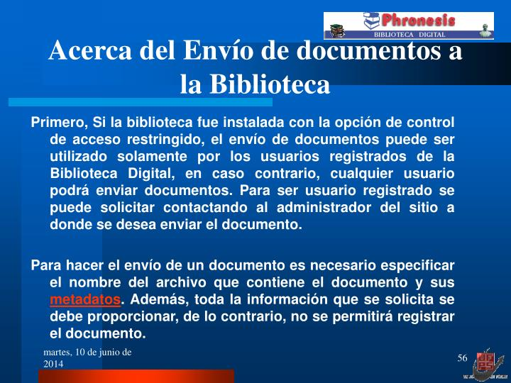 Acerca del Envío de documentos a la Biblioteca