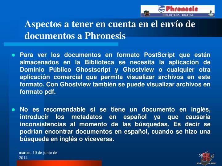 Aspectos a tener en cuenta en el envío de documentos a Phronesis