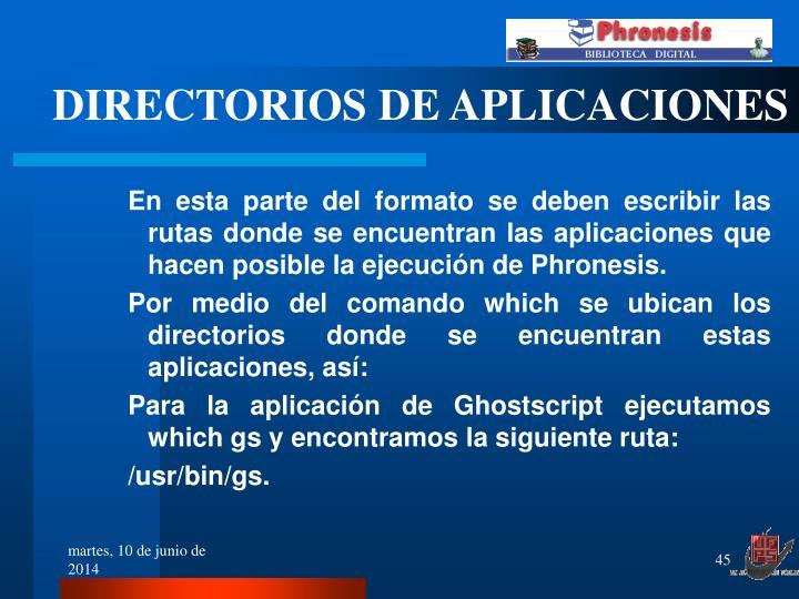 DIRECTORIOS DE APLICACIONES