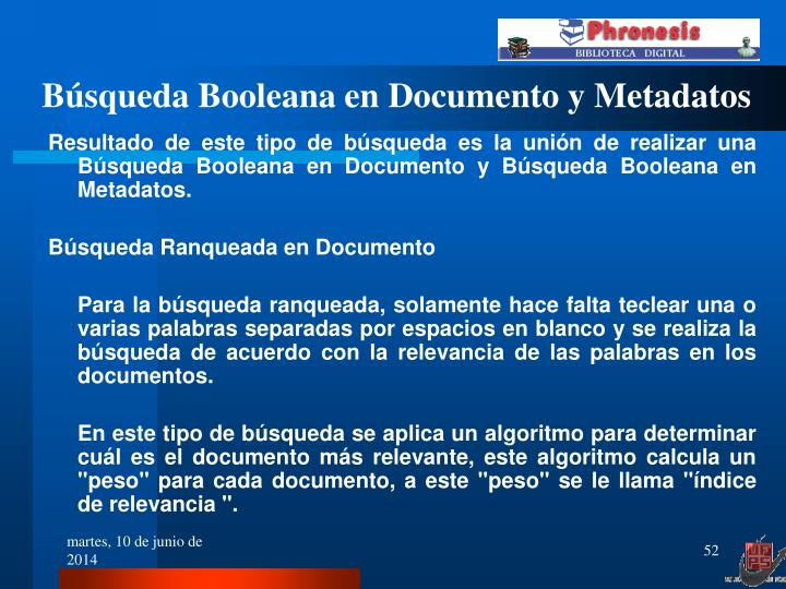 Búsqueda Booleana en Documento y Metadatos