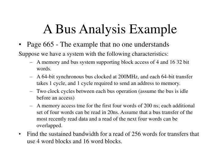 A Bus Analysis Example