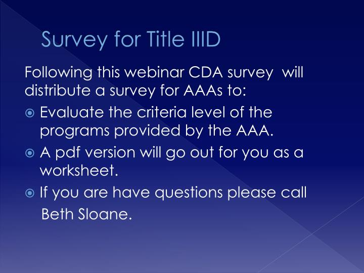 Survey for Title IIID