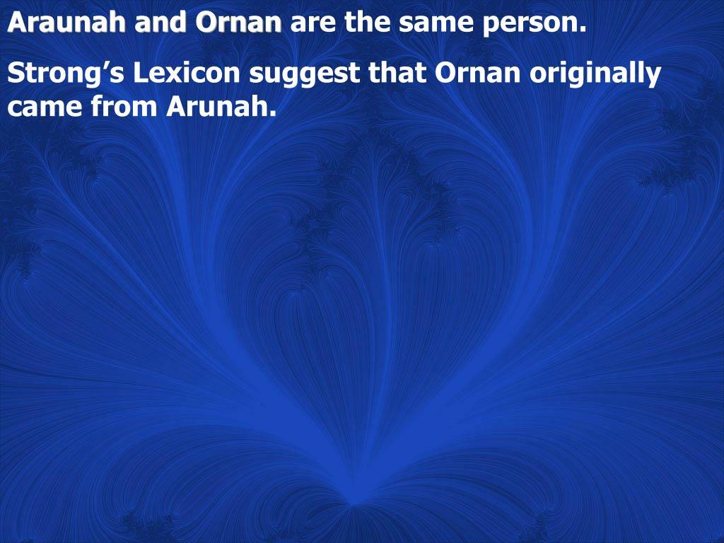 Araunah and Ornan