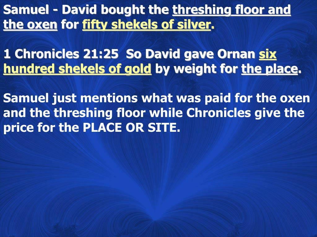 Samuel - David bought the