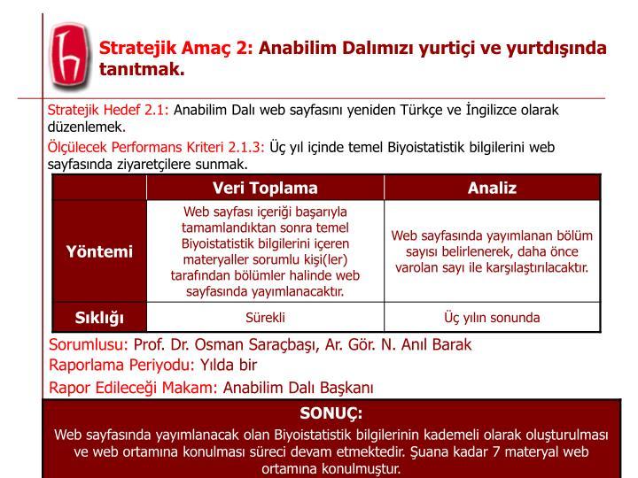 Stratejik Hedef 2.1: