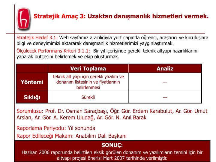 Stratejik Hedef 3.1: