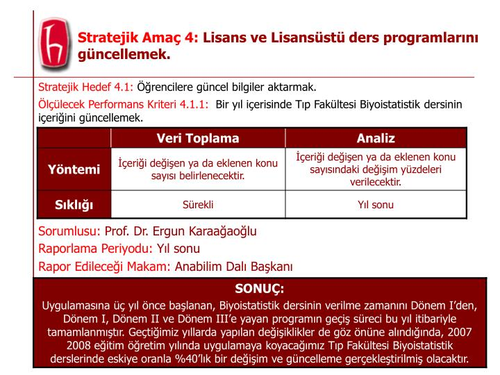 Stratejik Hedef 4.1: