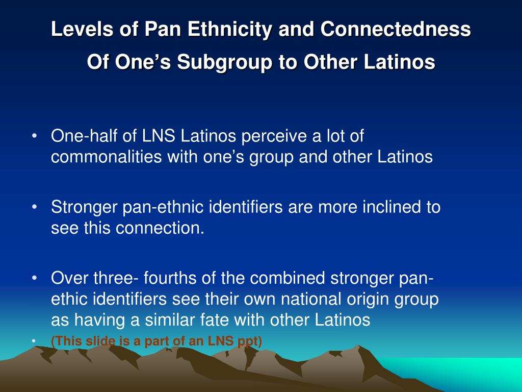 Levels of Pan Ethnicity and Connectedness