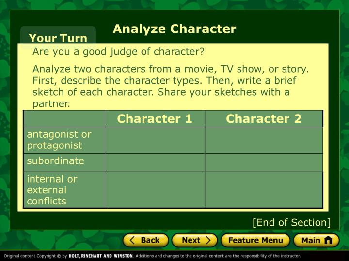Analyze Character