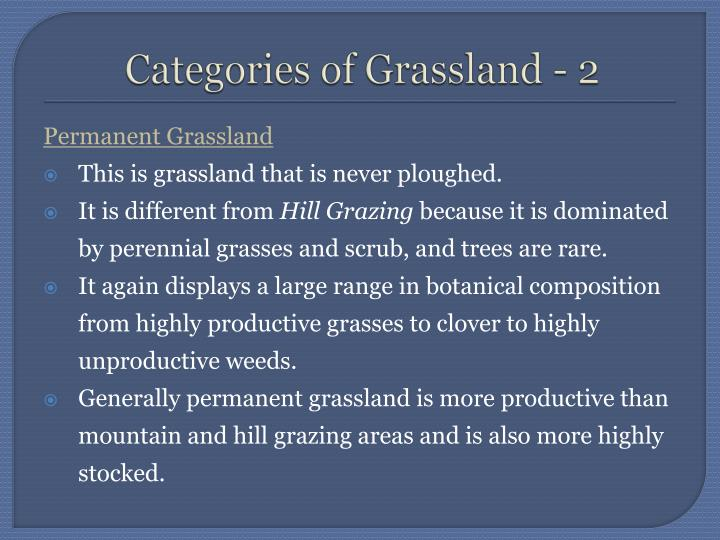 Categories of Grassland - 2