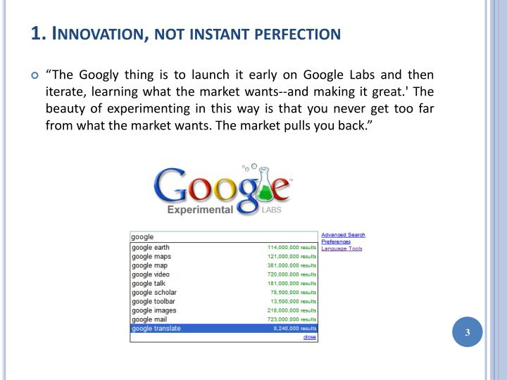 1 innovation not instant perfection