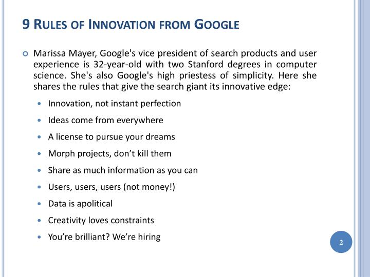9 rules of innovation from google