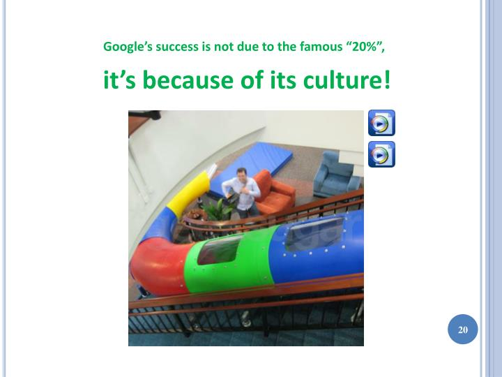 "Google's success is not due to the famous ""20%"","