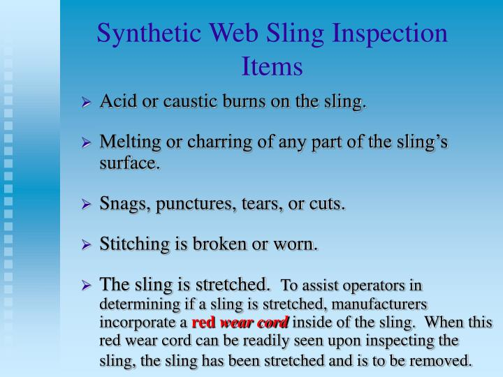 Synthetic Web Sling Inspection Items