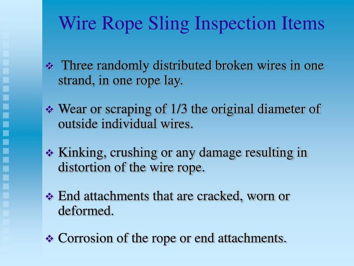 Wire Rope Sling Inspection Items