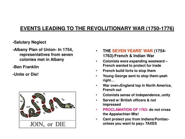 Events leading to the revolutionary war 1750 1776
