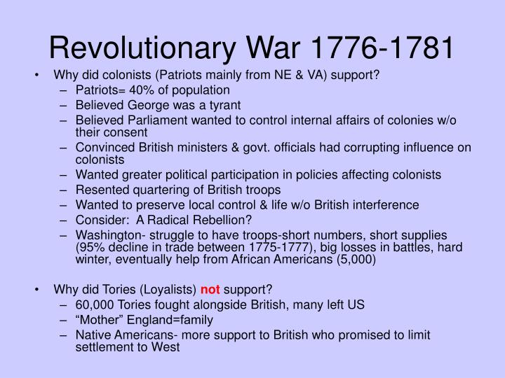 Revolutionary War 1776-1781