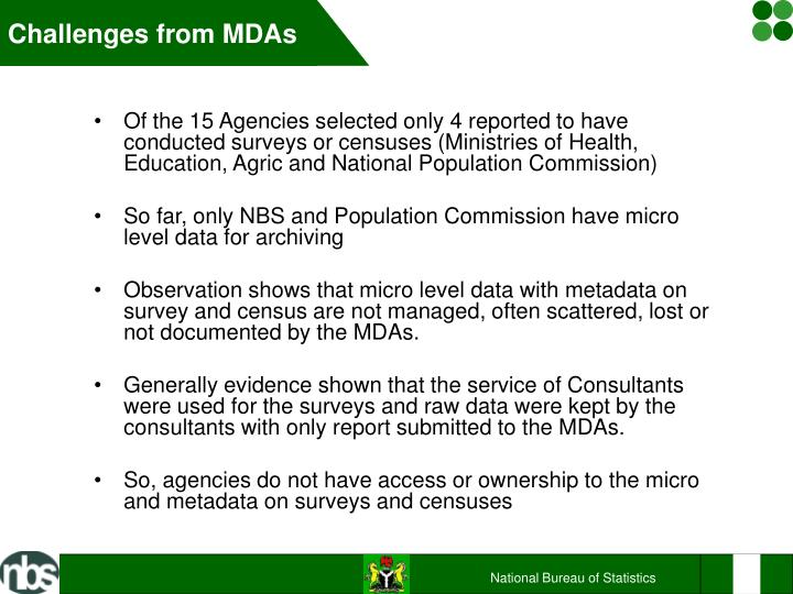 Challenges from MDAs