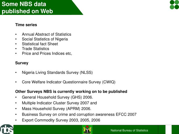 Some NBS data published on Web