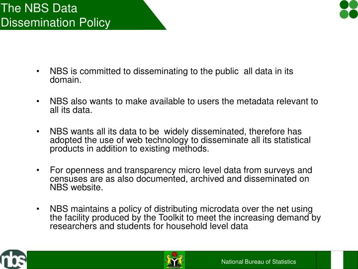 The NBS Data Dissemination Policy