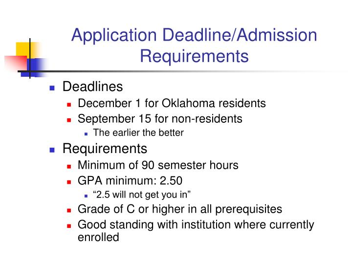 Application Deadline/Admission Requirements