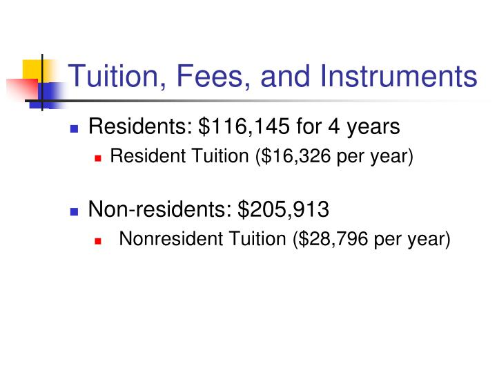 Tuition, Fees, and Instruments