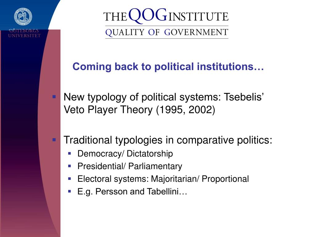 Coming back to political institutions…