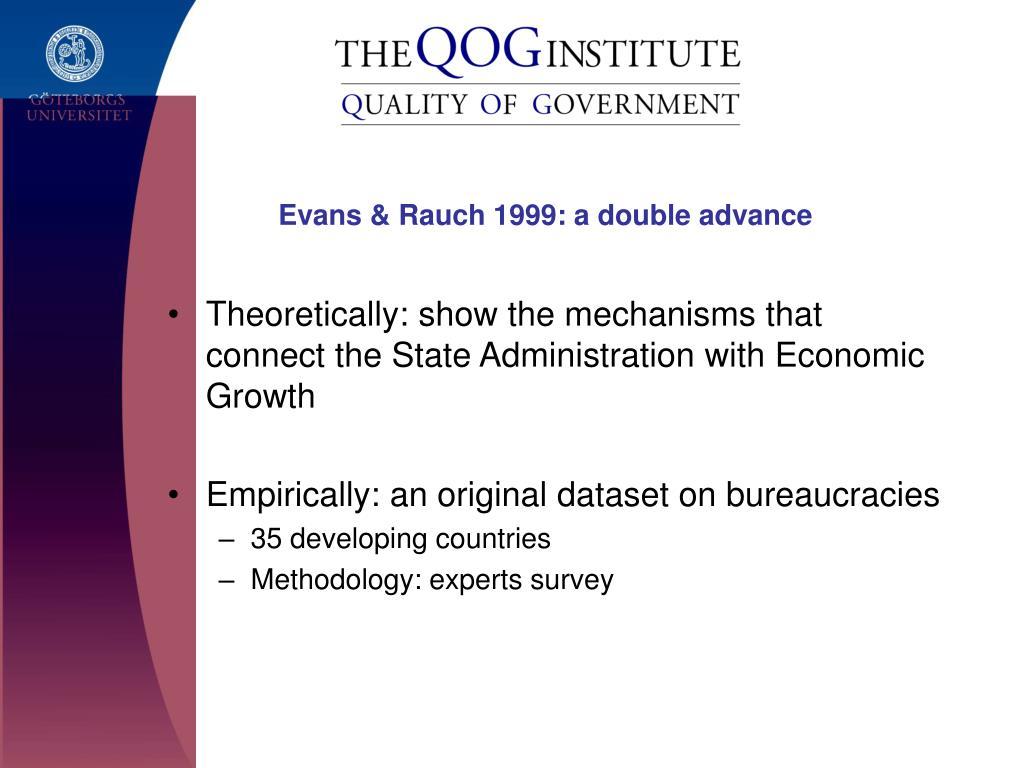 Evans & Rauch 1999: a double advance