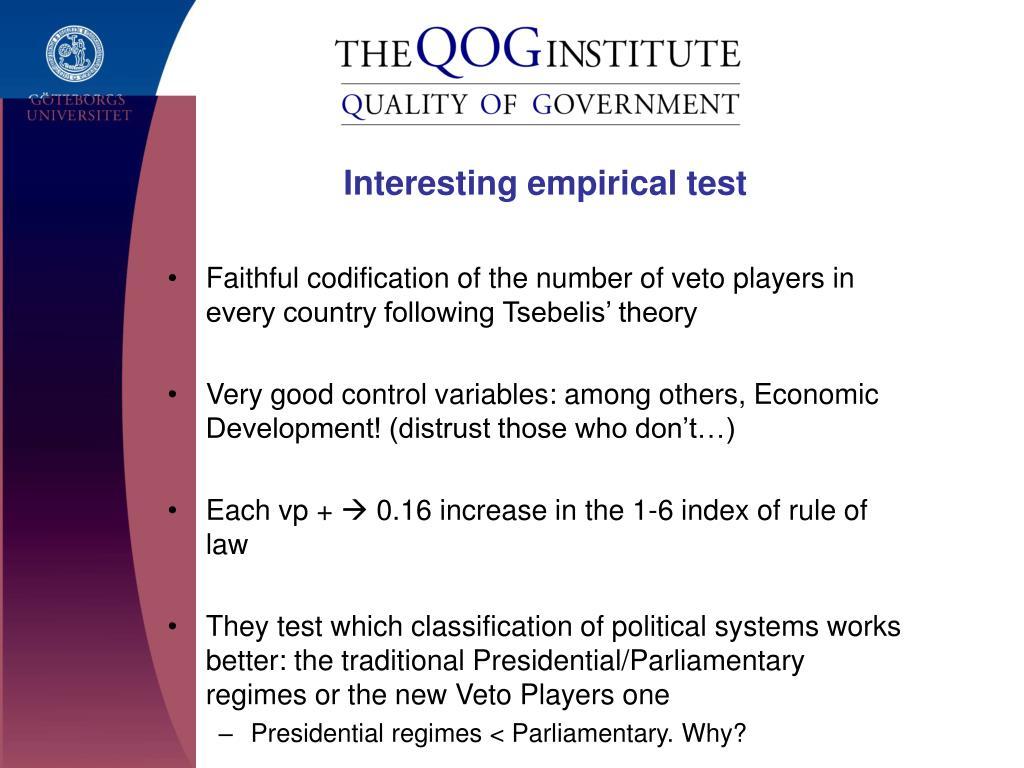 Interesting empirical test