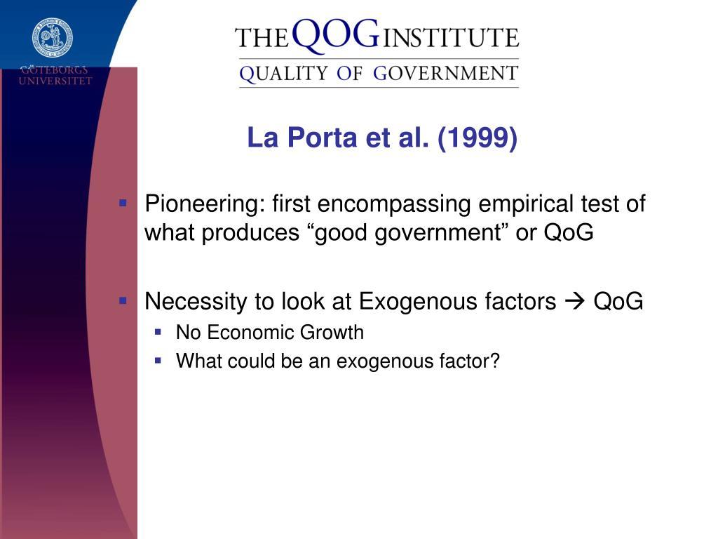 La Porta et al. (1999)