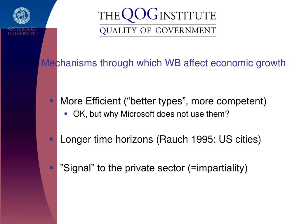 Mechanisms through which WB affect economic growth