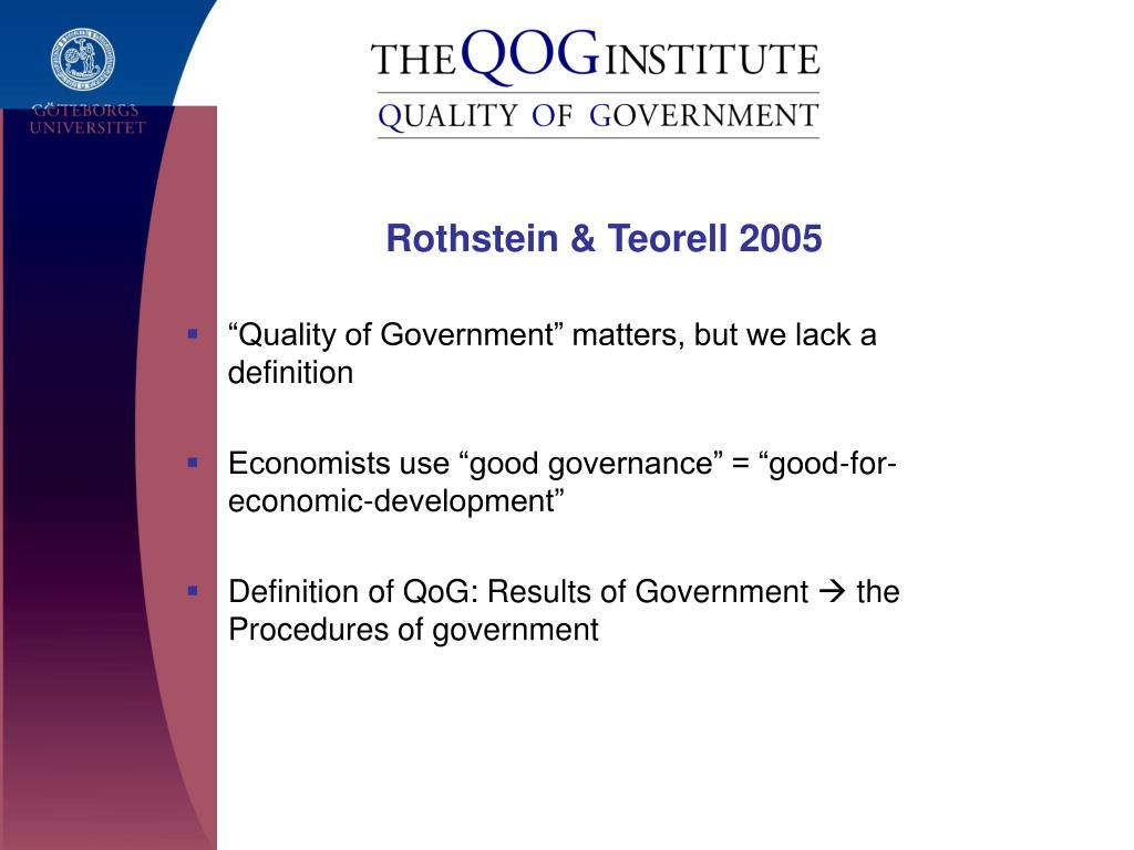 Rothstein & Teorell 2005