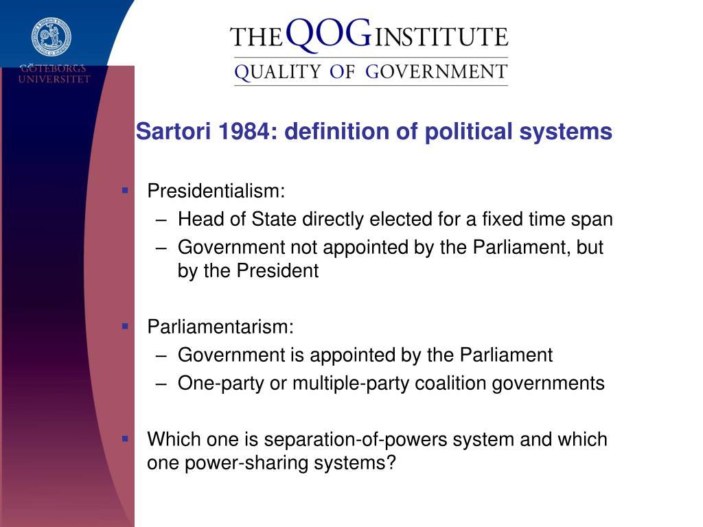 Sartori 1984: definition of political systems