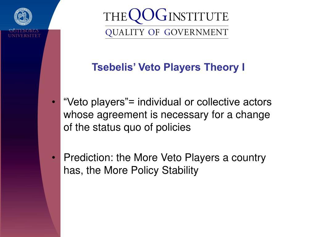 Tsebelis' Veto Players Theory I