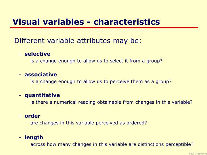 Visual variables characteristics