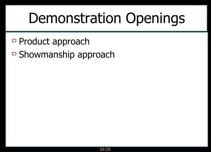 Demonstration Openings