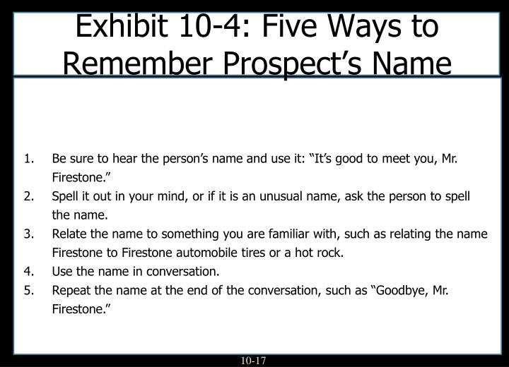 Exhibit 10-4: Five Ways to Remember Prospect's Name