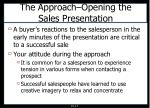 the approach opening the sales presentation